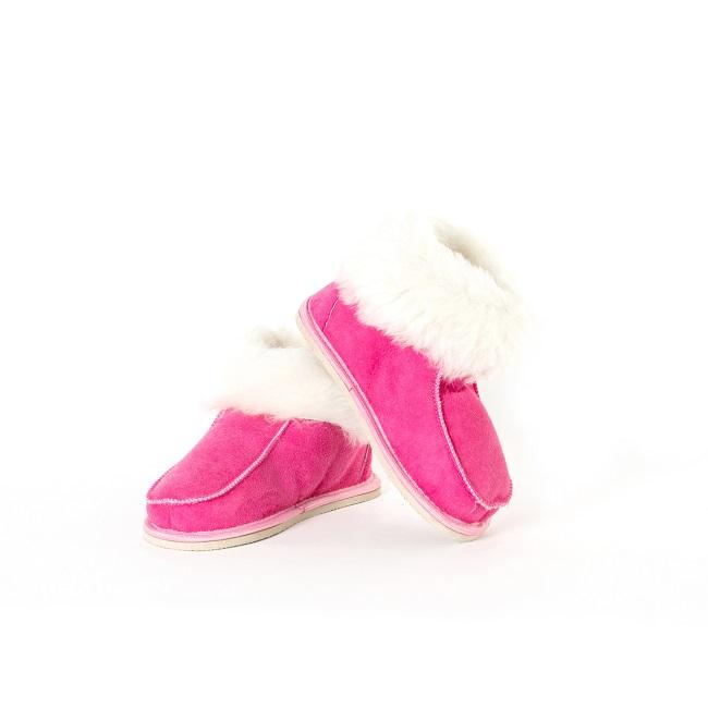 Chaussons bébé enfant peau agneau double face rose intérieur fourrure naturelle fourré blanche blanc mouton dessus cuir souple léger bottine fournisseur dt collection direct tannerie grossiste