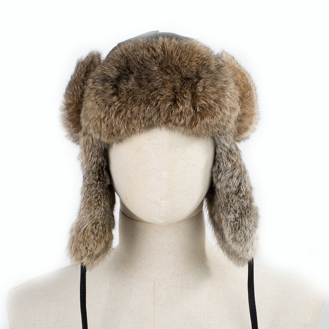 chapeau chapka cagoule toque en cuir agneau noir et fourrure de lapin de garenne naturel vraie fourrure bonnet chaud dt collection grossiste importateur vaucluse direct tannerie vente en gros